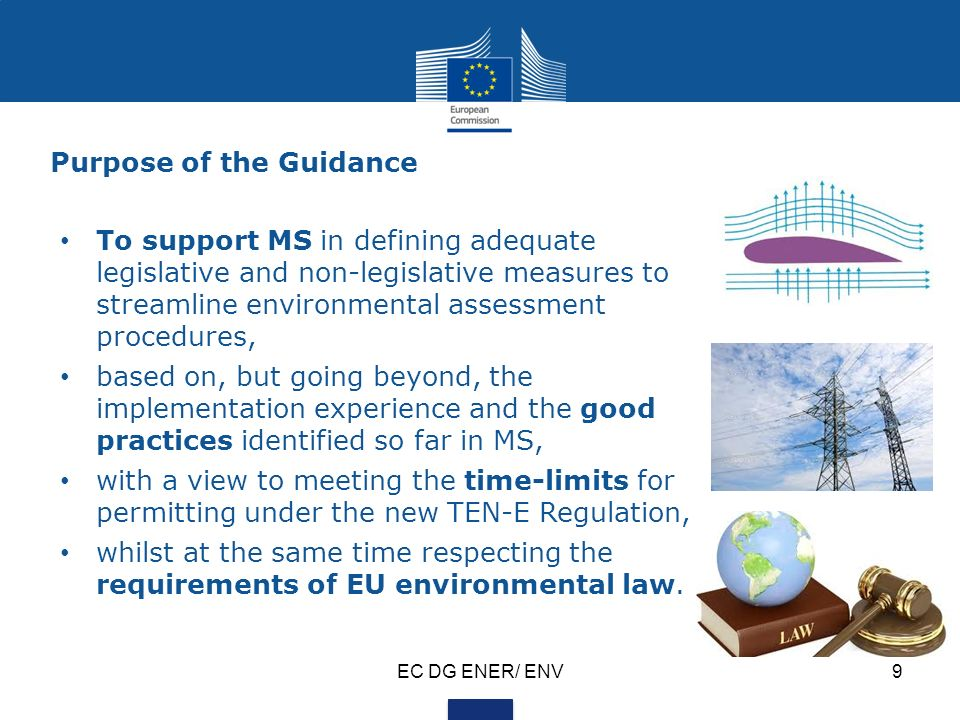 9 Purpose of the Guidance To support MS in defining adequate legislative and non-legislative measures to streamline environmental assessment procedures, based on, but going beyond, the implementation experience and the good practices identified so far in MS, with a view to meeting the time-limits for permitting under the new TEN-E Regulation, whilst at the same time respecting the requirements of EU environmental law.