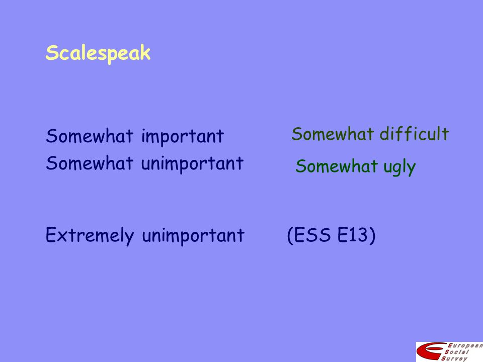 Scalespeak Extremely unimportant(ESS E13) Somewhat important Somewhat unimportant Somewhat difficult Somewhat ugly