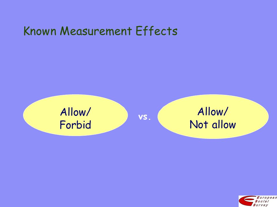 Known Measurement Effects vs. Allow/ Not allow Allow/ Forbid