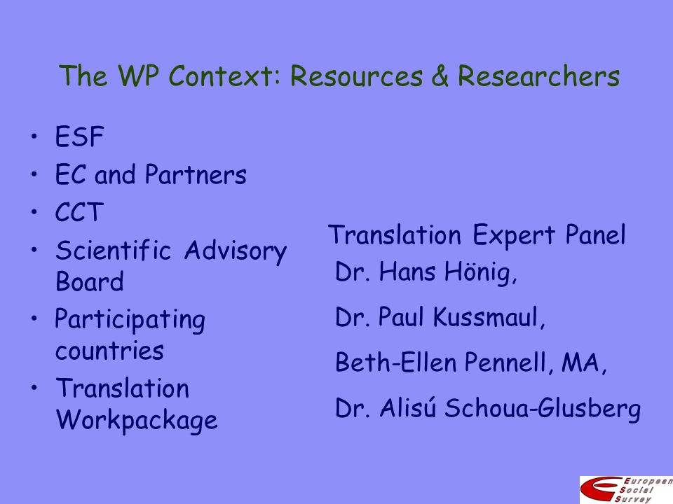 The WP Context: Resources & Researchers ESF EC and Partners CCT Scientific Advisory Board Participating countries Translation Workpackage Translation Expert Panel Dr.