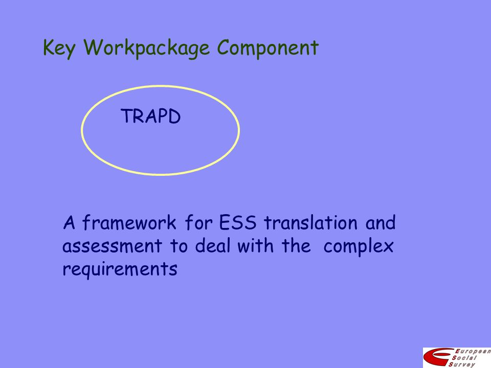 Key Workpackage Component TRAPD A framework for ESS translation and assessment to deal with the complex requirements