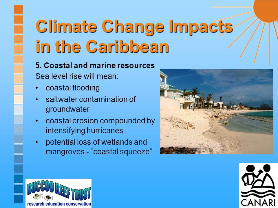 5. Coastal and marine resources Sea level rise will mean: coastal flooding saltwater contamination of groundwater coastal erosion compounded by intens