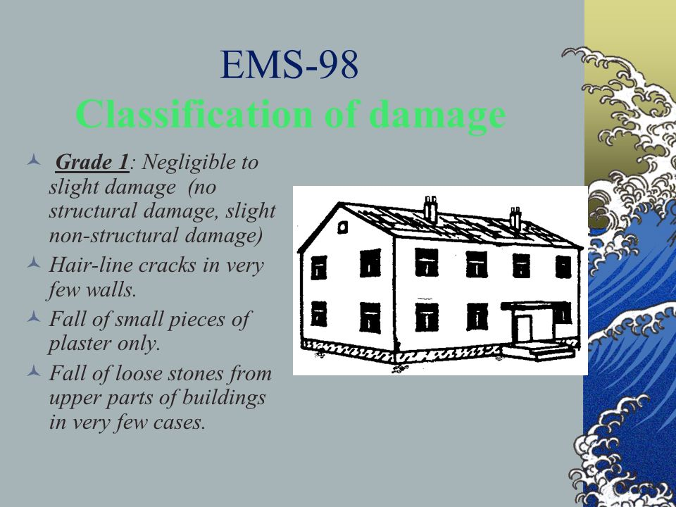 EMS-98 Classification of damage Grade 1: Negligible to slight damage (no structural damage, slight non-structural damage) Hair-line cracks in very few
