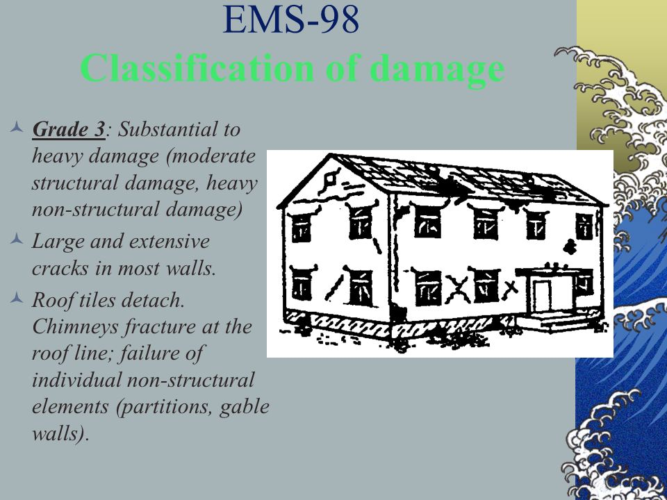 EMS-98 Classification of damage Grade 3: Substantial to heavy damage (moderate structural damage, heavy non-structural damage) Large and extensive cra