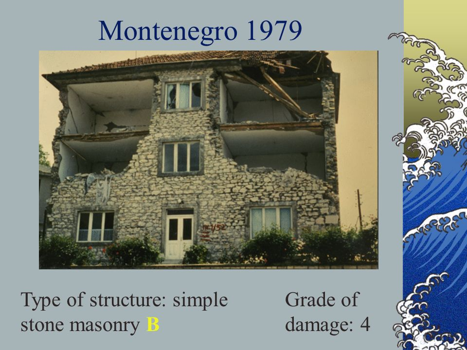 Montenegro 1979 Type of structure: simple stone masonry B Grade of damage: 4