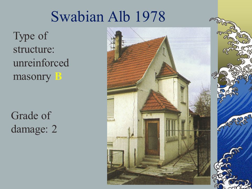 Swabian Alb 1978 Type of structure: unreinforced masonry B Grade of damage: 2