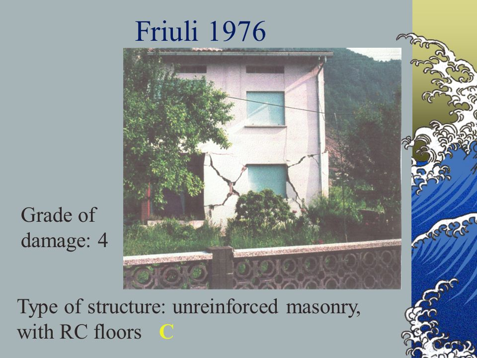Friuli 1976 Type of structure: unreinforced masonry, with RC floors C Grade of damage: 4