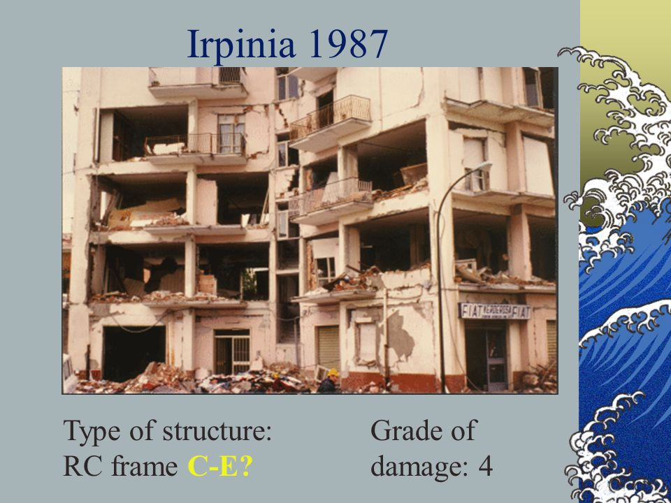 Irpinia 1987 Type of structure: RC frame C-E? Grade of damage: 4