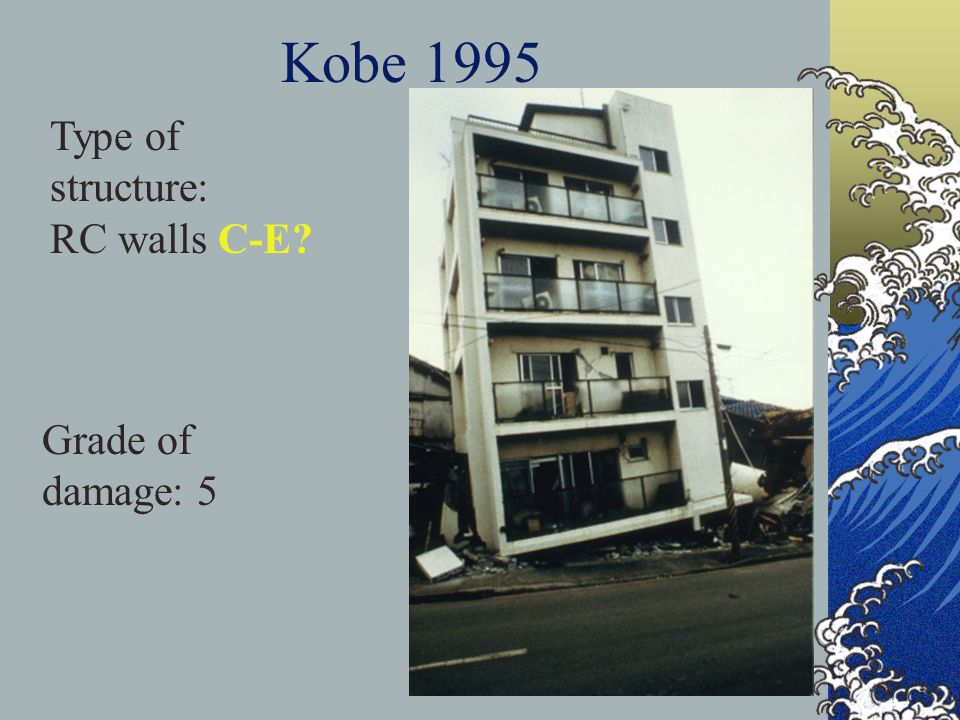 Kobe 1995 Type of structure: RC walls C-E? Grade of damage: 5