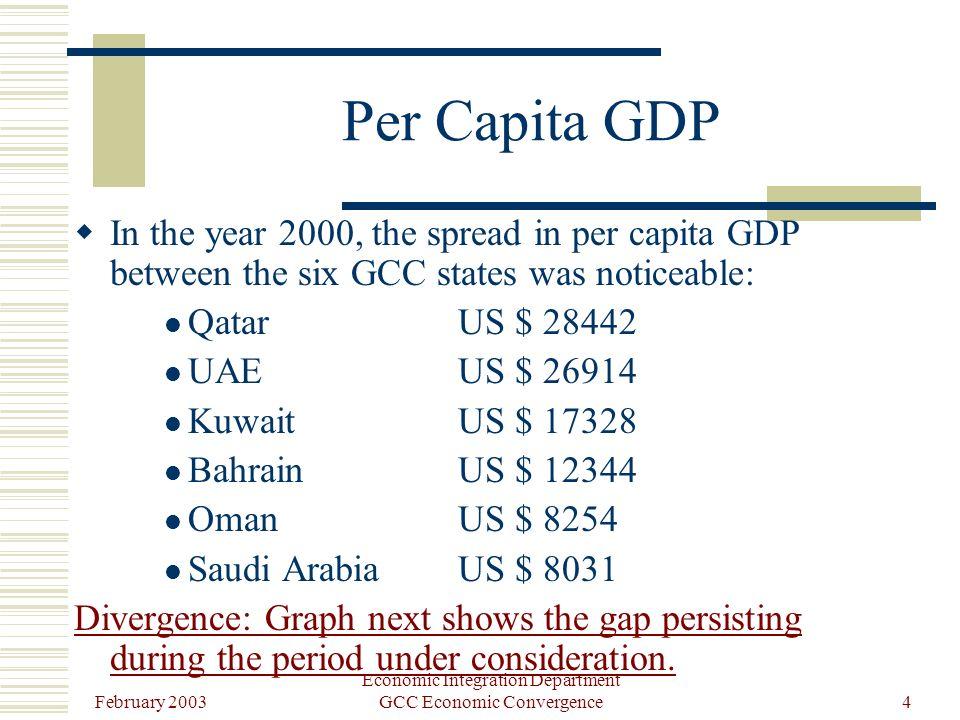 February 2003 Economic Integration Department GCC Economic Convergence4 Per Capita GDP In the year 2000, the spread in per capita GDP between the six GCC states was noticeable: QatarUS $ 28442 UAEUS $ 26914 KuwaitUS $ 17328 BahrainUS $ 12344 OmanUS $ 8254 Saudi Arabia US $ 8031 Divergence: Graph next shows the gap persisting during the period under consideration.