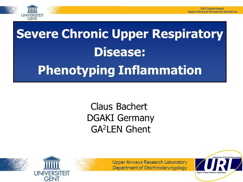 ENT Department Upper Airways Research Laboratory Claus Bachert, MD PhD ControlsNP- SAEs (-) NP-SAEs (+) Tissue ECP (µg/ ml) 602.5 (IQR: 309.9- 894.3) 9806.9 (IQR: 1686.5 - 17673.8) 25 583.0 (IQR: 17226.0 - 29870.3) p < 0.0001 (*) IL- 5 (pg/ ml) 20.9 (IQR: 16.9- 25.0) 81.5 (IQR: 38.9- 291.9) 327.9 (IQR: 106.2- 385.5) p < 0.0005 (*) MPO (ng/ ml) 4882.8 (IQR: 3007.1- 7015.0) 8013.9 (IQR: 4912.1- 11476.0) 9705.2 (IQR: 7426.1- 17427.1) Total IgE (kU/ L) 1.93 (IQR: 1.9- 1.9) 323.9 (IQR: 67.2- 387.5) 1 564.0 (IQR: 739.1- 2039.7) p < 0.0005 (*) Specific IgE to SAEs (kU A / L) BDL 8.6 (IQR: 6..3- 17.0) P < 0.0005 (*) Serum ECP (µg/ ml) 9.0 (IQR: 3.8- 14.1)10.9 (IQR: 7.1- 32.7) 22.4 (IQR: 16.4- 36.9) p = 0.0467 (**) MPO (ng/ ml)11.8 (IQR: 8.3- 13.1)7.5 (IQR: 3.7- 16.7)10.3 (IQR: 5.9- 13.4) Total IgE (kU/ L) 21.8 (IQR: 8.9- 56.0)37.2 (IQR: 20.8- 215.2) 211.2 (IQR: 152.5- 431.5) p = 0.0064 (**) Specific IgE to SAEs (kU A / L) BDL 0.4 (IQR: 0.1- 1.3)