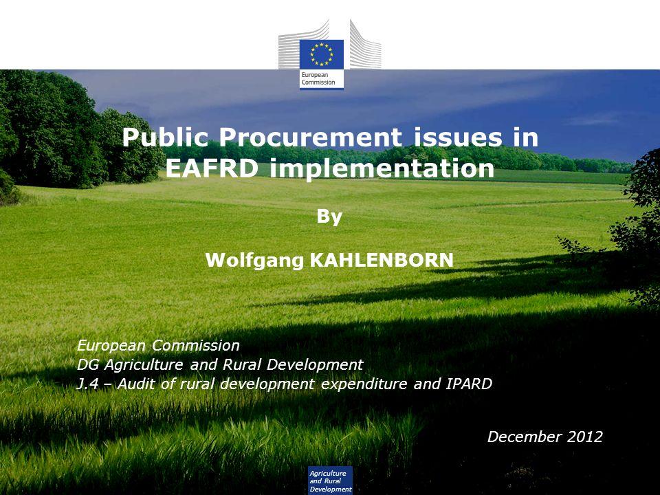 Background The Common Agricultural Policy Pillar 1 – EAGF (budget: 44 billion EUR in 2012) Pillar 2 – EAFRD (13 billion EUR) 2