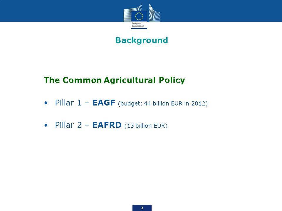 EAFRD – Rural Development (1) Axis 1 – Improving the competitiveness of the agricultural and forestry sector Axis 2 - Improving the environment and the countryside Axis 3 – The quality of life in rural areas and diversification of the rural economy Axis 4 – Leader Axis 5 – Technical assistance 3 The European Agricultural Fund for Rural Development (EAFRD)