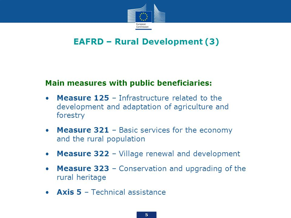 EAFRD – Rural Development (3) Main measures with public beneficiaries: Measure 125 – Infrastructure related to the development and adaptation of agric