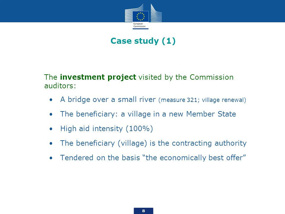 Case study (1) A bridge over a small river (measure 321; village renewal) The beneficiary: a village in a new Member State High aid intensity (100%) T