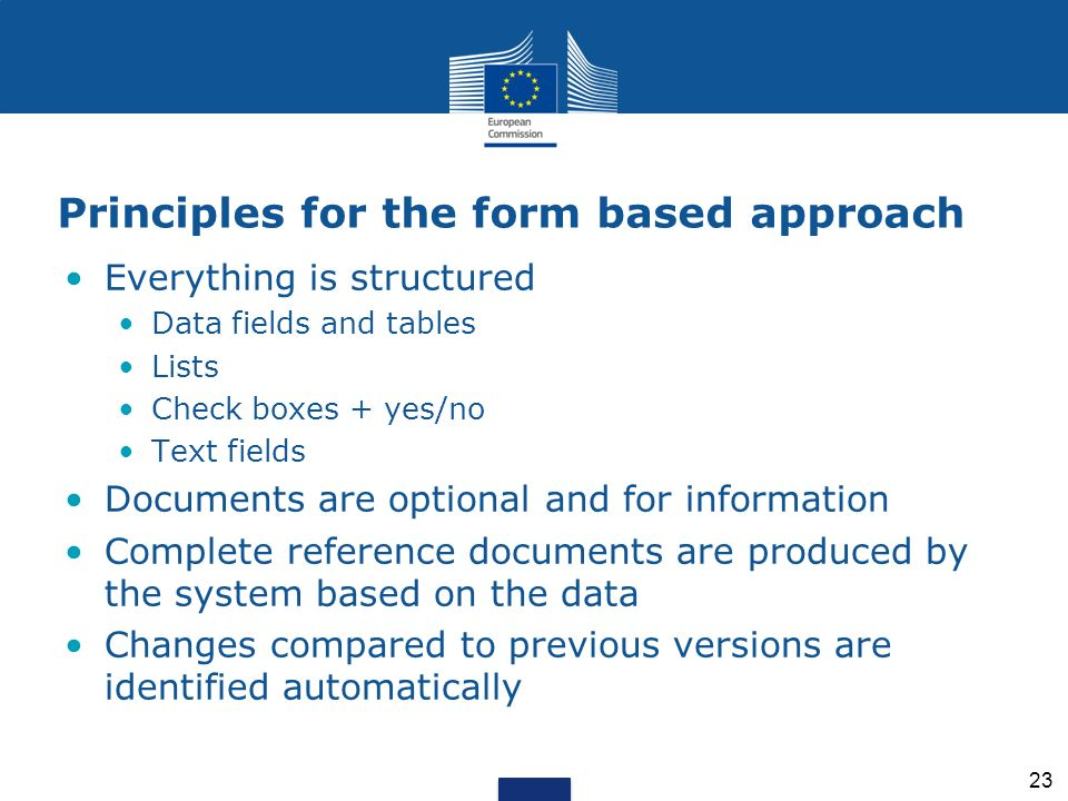 Principles for the form based approach Everything is structured Data fields and tables Lists Check boxes + yes/no Text fields Documents are optional a