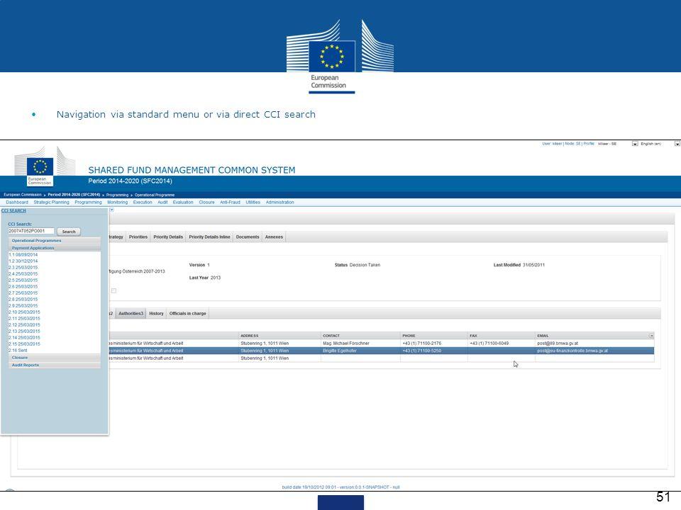 51 Navigation via standard menu or via direct CCI search