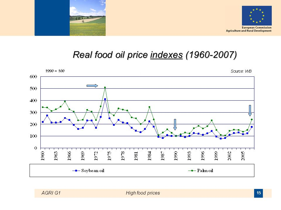 AGRI G1High food prices 15 Real food oil price indexes (1960-2007)