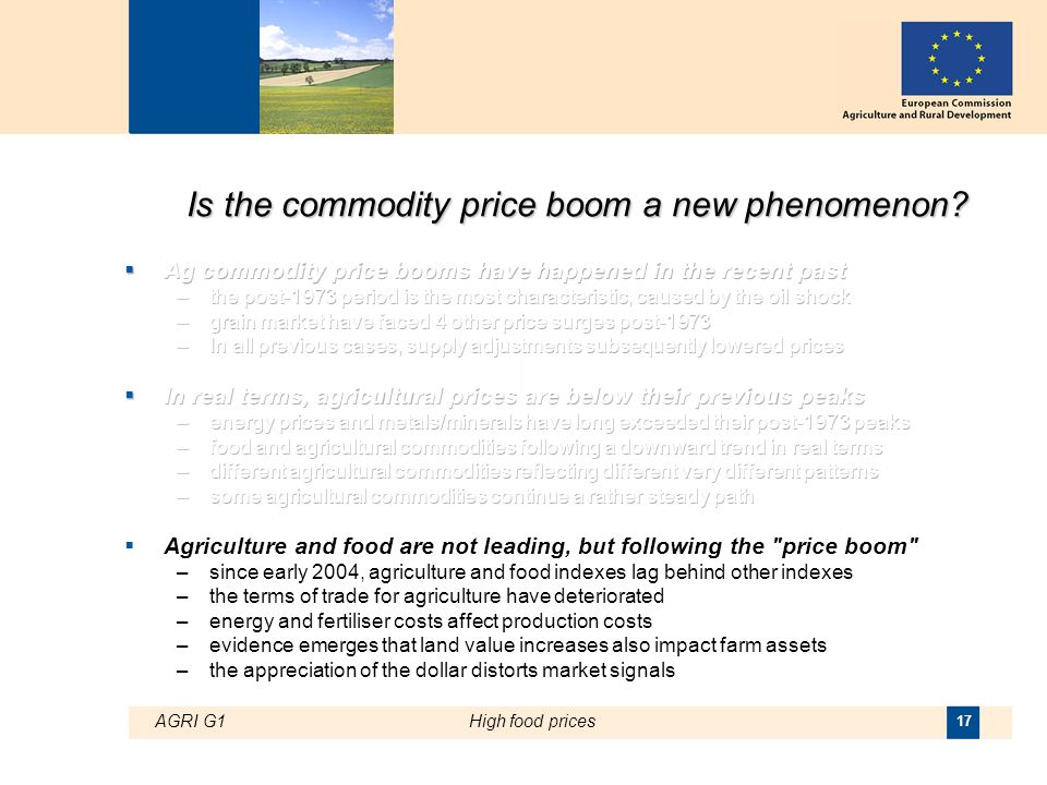 AGRI G1High food prices 17 Is the commodity price boom a new phenomenon