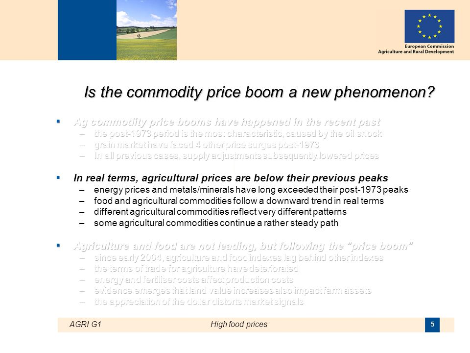 AGRI G1High food prices 5 Is the commodity price boom a new phenomenon?