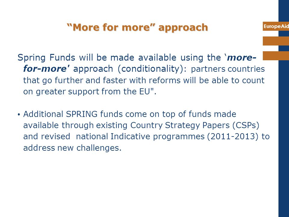 EuropeAid More for more approach Spring Funds will be made available using the more- for-more' approach (conditionality) : partners countries that go