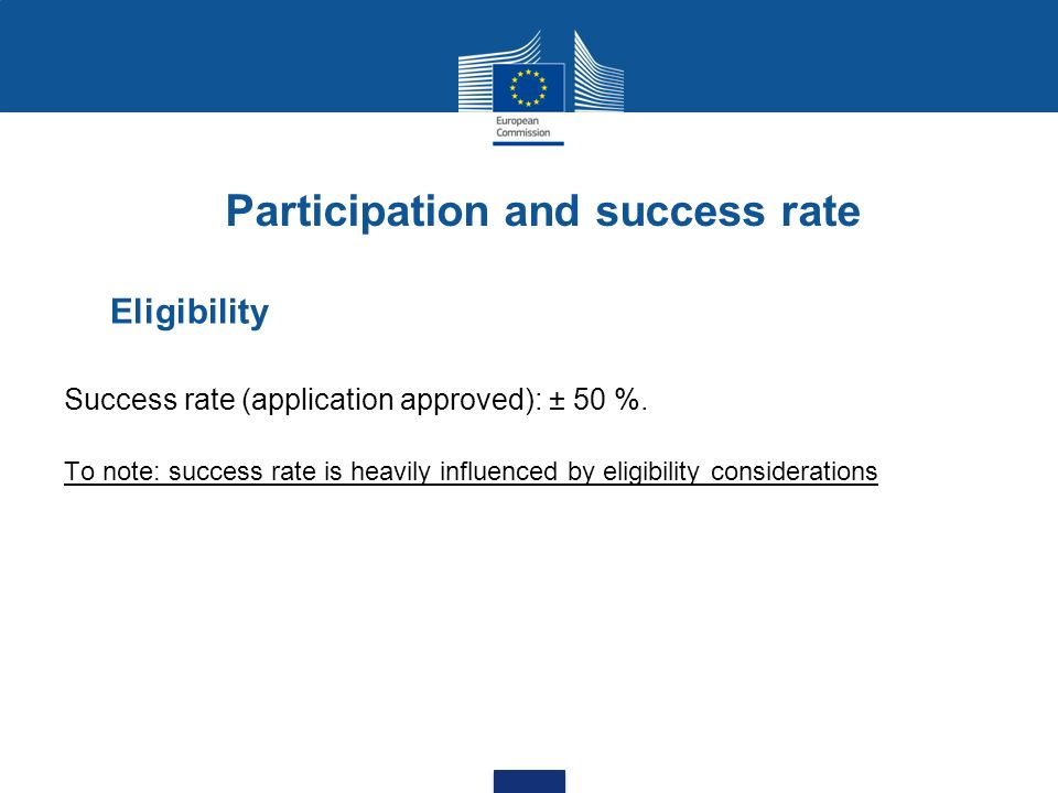 Participation and success rate Eligibility Success rate (application approved): ± 50 %.