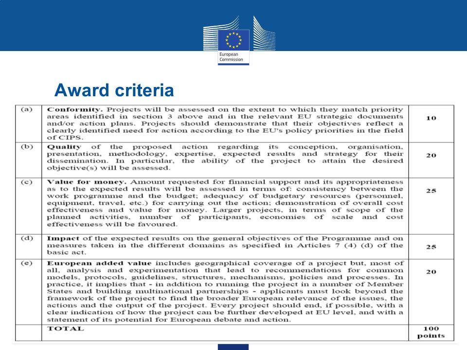 18 Award criteria