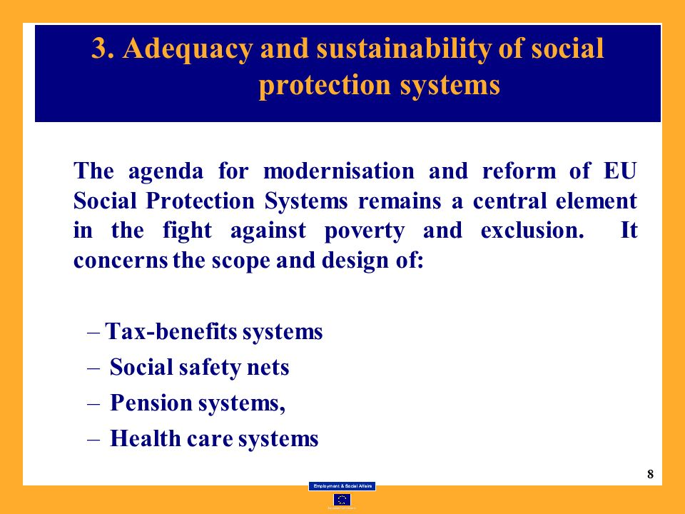 8 3. Adequacy and sustainability of social protection systems The agenda for modernisation and reform of EU Social Protection Systems remains a centra
