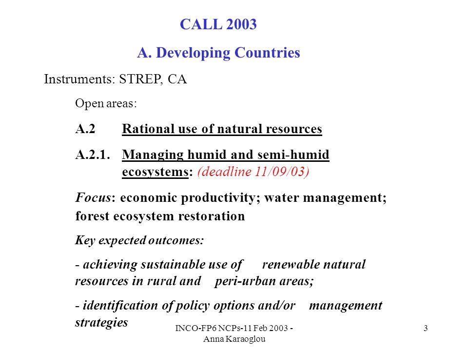 INCO-FP6 NCPs-11 Feb 2003 - Anna Karaoglou 3 CALL 2003 A.