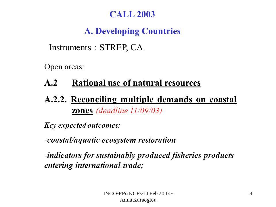 INCO-FP6 NCPs-11 Feb 2003 - Anna Karaoglou 4 CALL 2003 A.