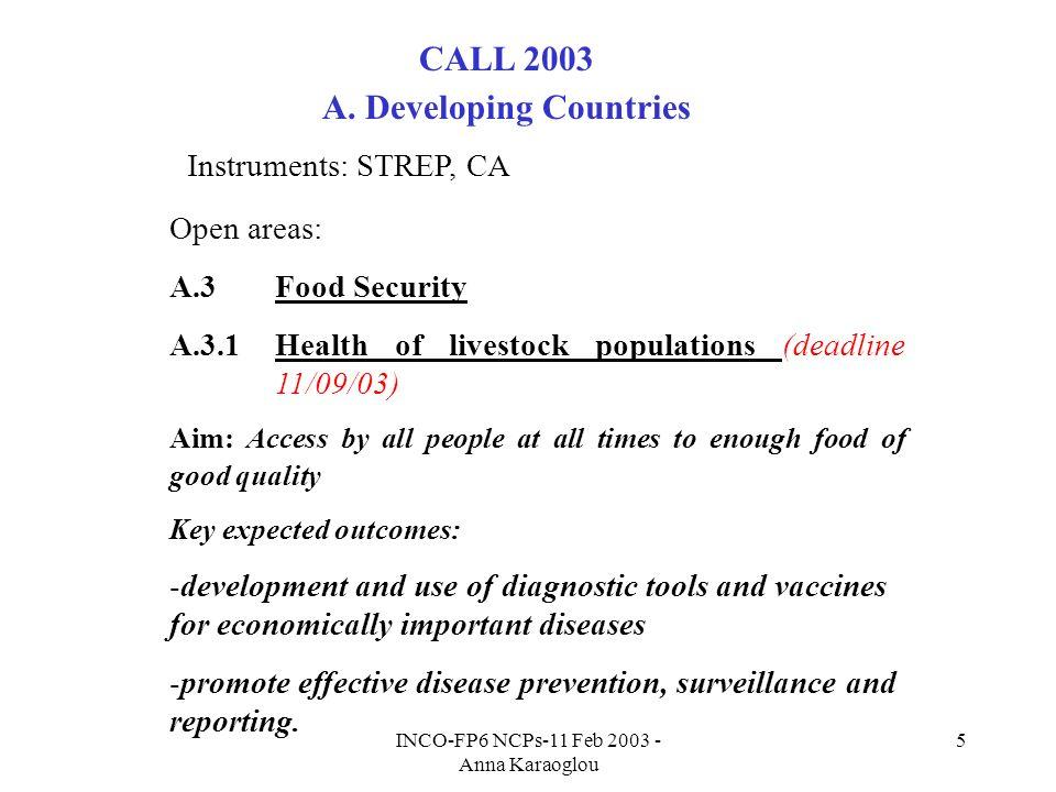 INCO-FP6 NCPs-11 Feb 2003 - Anna Karaoglou 5 CALL 2003 A.