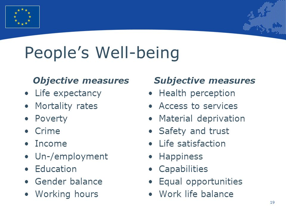 19 European Union Regional Policy – Employment, Social Affairs and Inclusion Peoples Well-being Objective measures Life expectancy Mortality rates Pov
