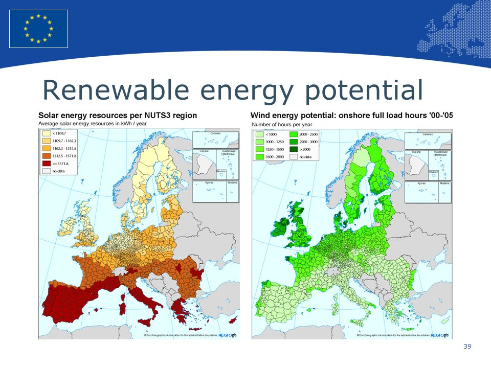 39 European Union Regional Policy – Employment, Social Affairs and Inclusion Renewable energy potential