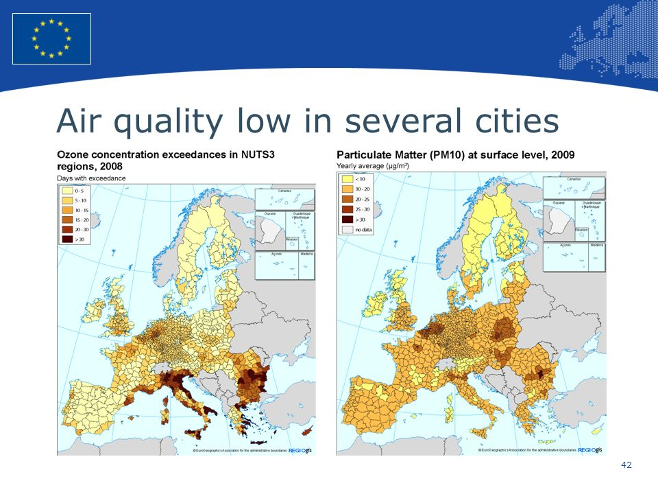 42 European Union Regional Policy – Employment, Social Affairs and Inclusion Air quality low in several cities