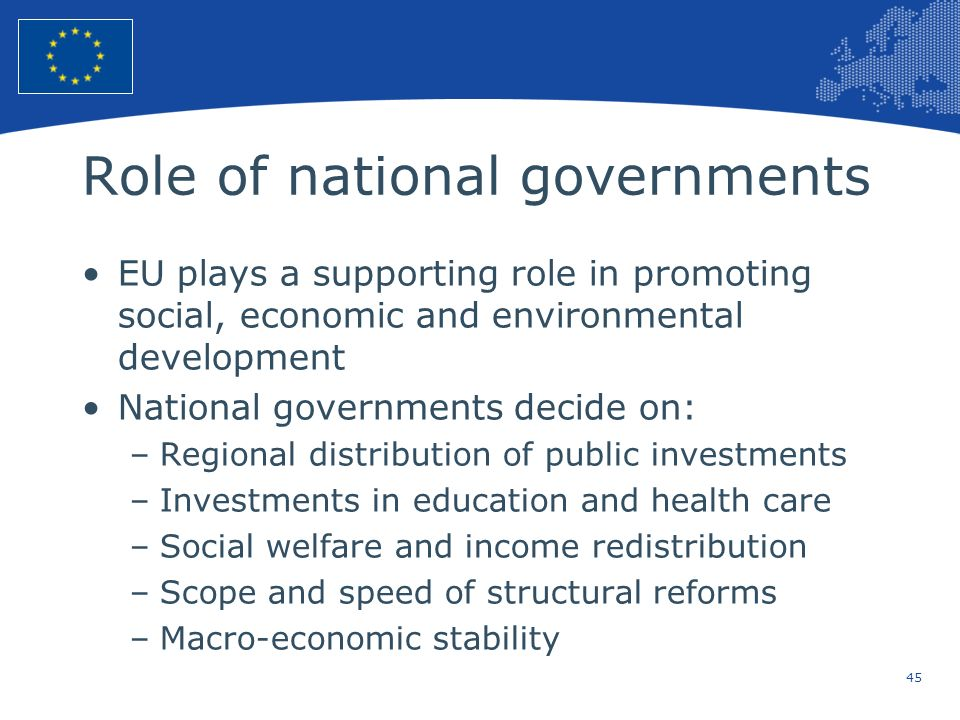 45 European Union Regional Policy – Employment, Social Affairs and Inclusion Role of national governments EU plays a supporting role in promoting soci