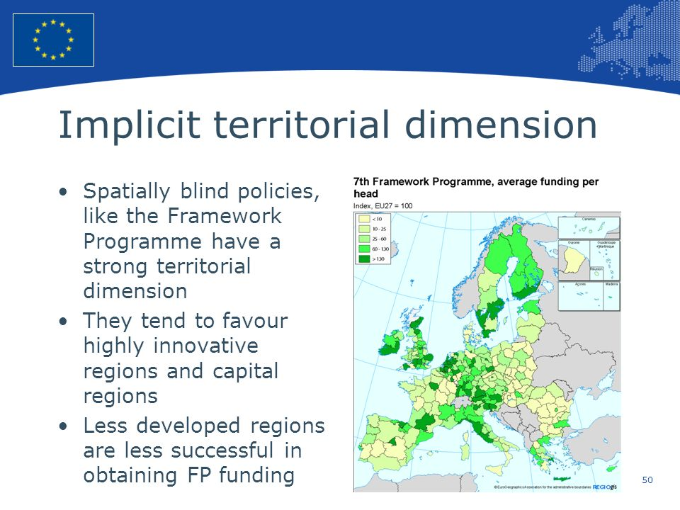 50 European Union Regional Policy – Employment, Social Affairs and Inclusion Implicit territorial dimension Spatially blind policies, like the Framewo