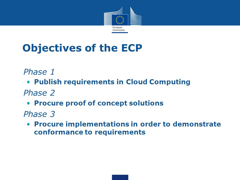 Objectives of the ECP Phase 1 Publish requirements in Cloud Computing Phase 2 Procure proof of concept solutions Phase 3 Procure implementations in order to demonstrate conformance to requirements