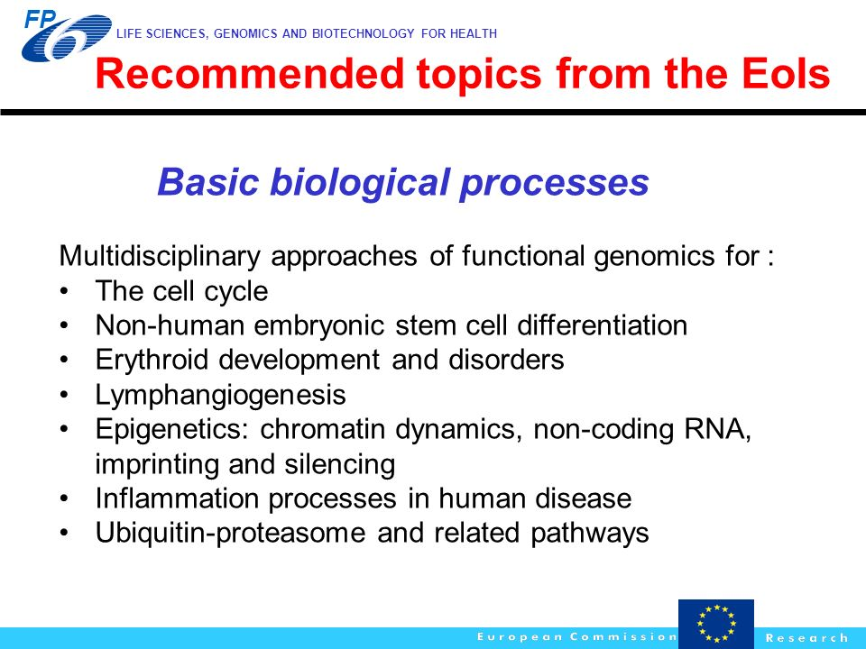 LIFE SCIENCES, GENOMICS AND BIOTECHNOLOGY FOR HEALTH FP Basic biological processes Multidisciplinary approaches of functional genomics for : The cell