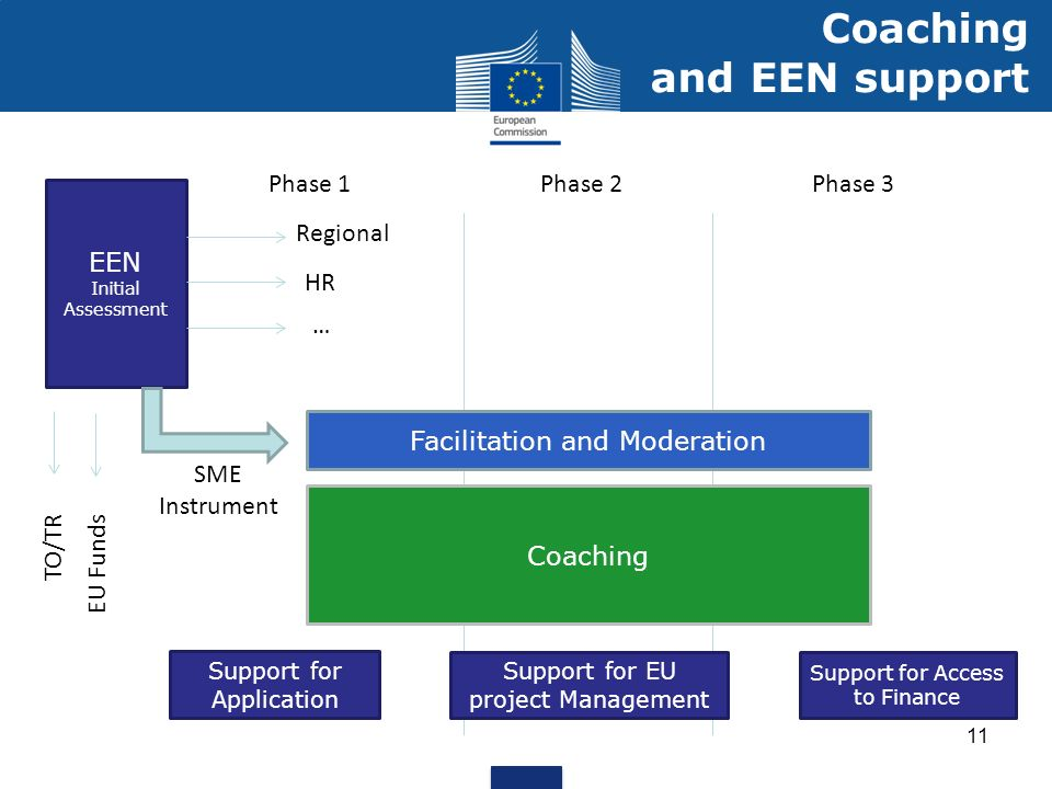 11 Coaching and EEN support EEN Initial Assessment Phase 1Phase 2Phase 3 Coaching Regional HR … TO/TR EU Funds SME Instrument Support for Application