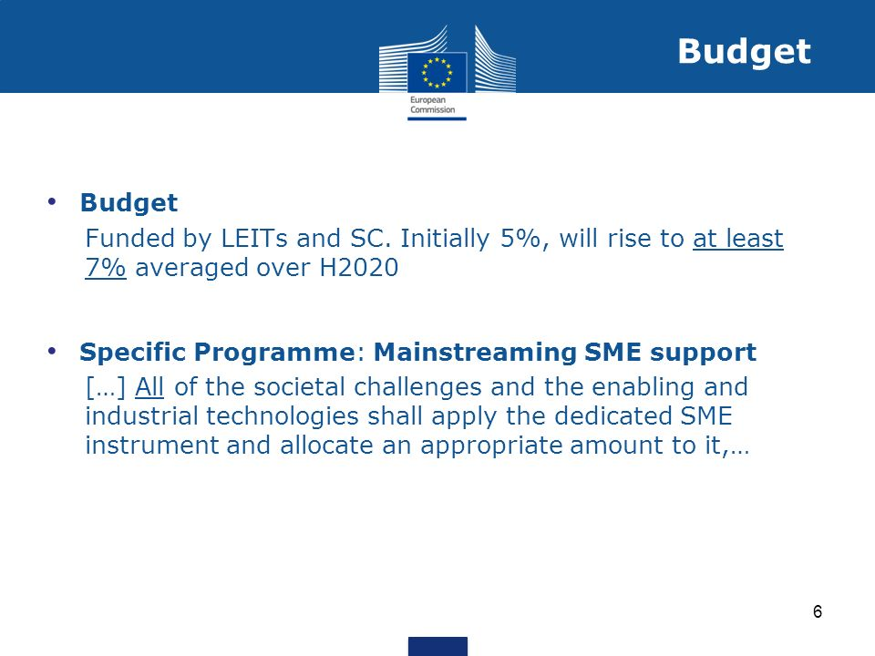 Budget Funded by LEITs and SC. Initially 5%, will rise to at least 7% averaged over H2020 Specific Programme: Mainstreaming SME support […] All of the