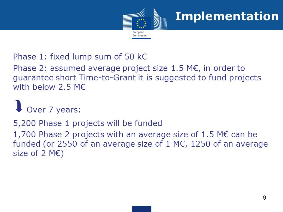 Phase 1: fixed lump sum of 50 k Phase 2: assumed average project size 1.5 M, in order to guarantee short Time-to-Grant it is suggested to fund projects with below 2.5 M Over 7 years: 5,200 Phase 1 projects will be funded 1,700 Phase 2 projects with an average size of 1.5 M can be funded (or 2550 of an average size of 1 M, 1250 of an average size of 2 M) 9 Implementation