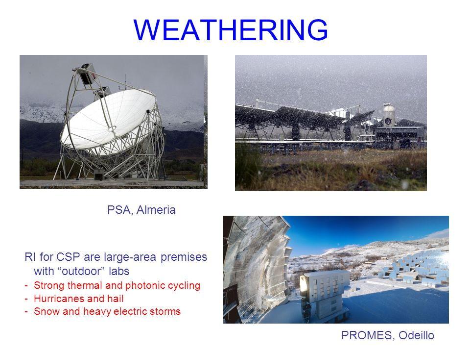 WEATHERING RI for CSP are large-area premises with outdoor labs -Strong thermal and photonic cycling -Hurricanes and hail -Snow and heavy electric storms PSA, Almeria PROMES, Odeillo