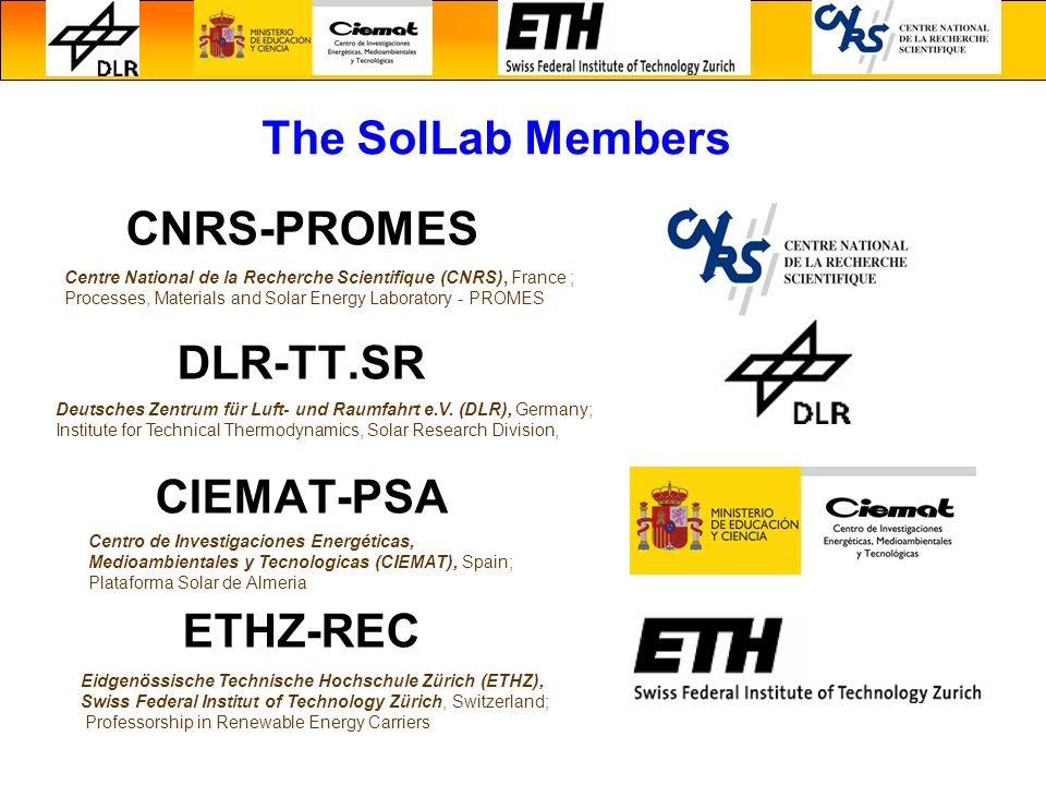 CNRS-PROMES DLR-TT.SR CIEMAT-PSA ETHZ-REC The SolLab Members Centre National de la Recherche Scientifique (CNRS), France ; Processes, Materials and So