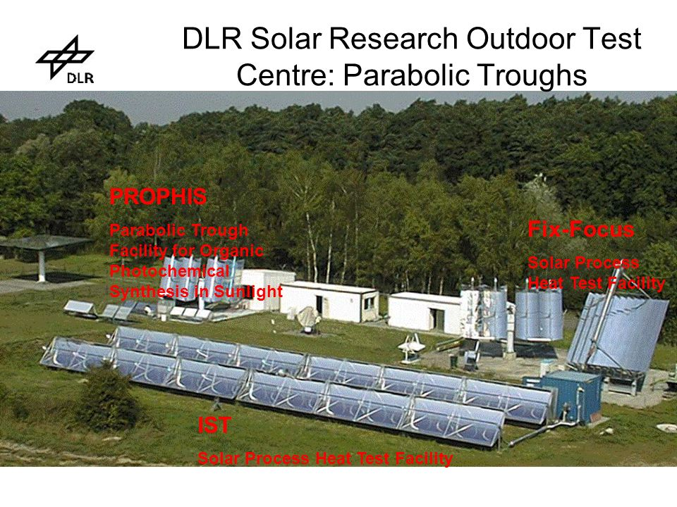 DLR Solar Research Outdoor Test Centre: Parabolic Troughs PROPHIS Parabolic Trough Facility for Organic Photochemical Synthesis in Sunlight IST Solar Process Heat Test Facility Fix-Focus Solar Process Heat Test Facility