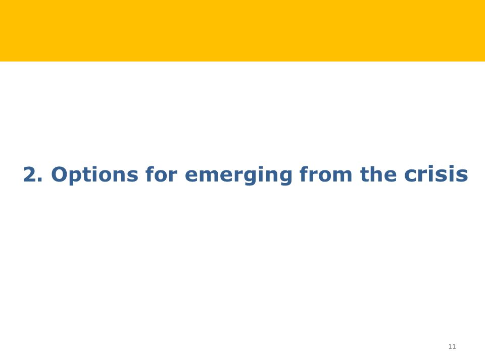 2. Options for emerging from the crisis 11
