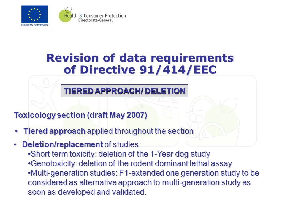 Toxicology section (draft May 2007) Tiered approach applied throughout the sectionTiered approach applied throughout the section Revision of data requ
