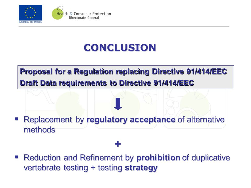CONCLUSION Replacement by regulatory acceptance of alternative methods Replacement by regulatory acceptance of alternative methods+ Reduction and Refinement by prohibition of duplicative vertebrate testing + testing strategy Reduction and Refinement by prohibition of duplicative vertebrate testing + testing strategy Proposal for a Regulation replacing Directive 91/414/EEC Draft Data requirements to Directive 91/414/EEC