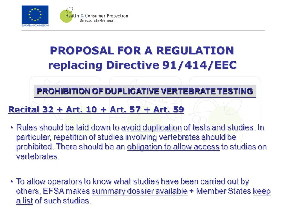 PROPOSAL FOR A REGULATION replacing Directive 91/414/EEC Rules should be laid down to avoid duplication of tests and studies. In particular, repetitio