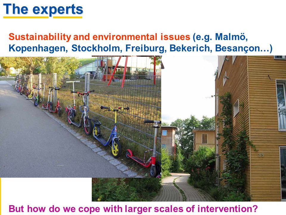 Sustainability and environmental issues (e.g. Malmö, Kopenhagen, Stockholm, Freiburg, Bekerich, Besançon…) But how do we cope with larger scales of in