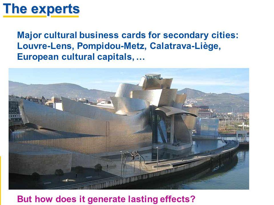 The experts Major cultural business cards for secondary cities: Louvre-Lens, Pompidou-Metz, Calatrava-Liège, European cultural capitals, … But how doe